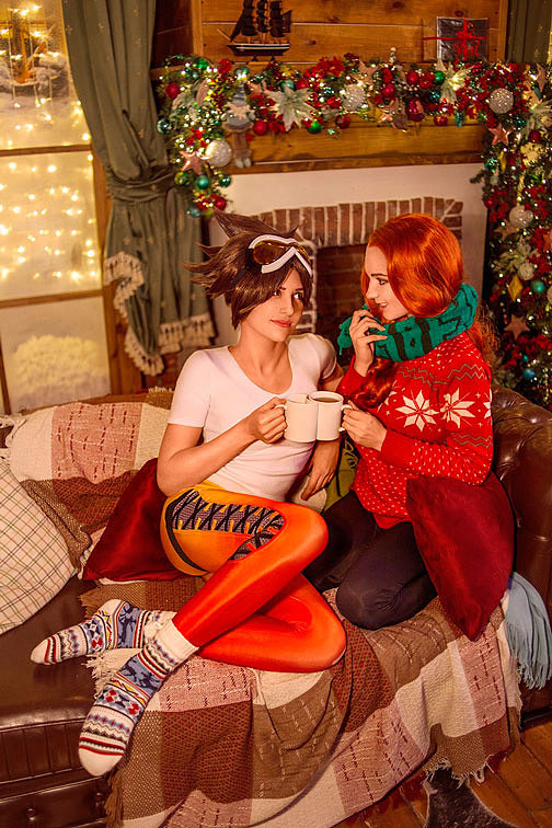 Russian Cosplay: Tracer, Emily (Xmas ver.) (Overwatch)