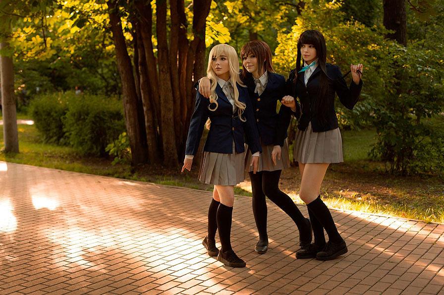 Russian Cosplay: Kotobuki Tsumugi, Hirasawa Yui, Akiyama Mio (K-On!)